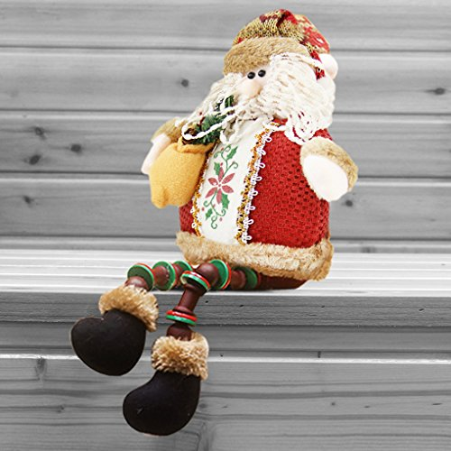 Christmas Decorations Sitting Father Christmas Santa Claus Snowman Figure Plush Toy Doll Christmas Party Tree Hanging Decor Home Indoor Table Fireplace Shelf Sitter Figurine Ornament Decoration Gifts (Sale Christmas Tree Decoration)