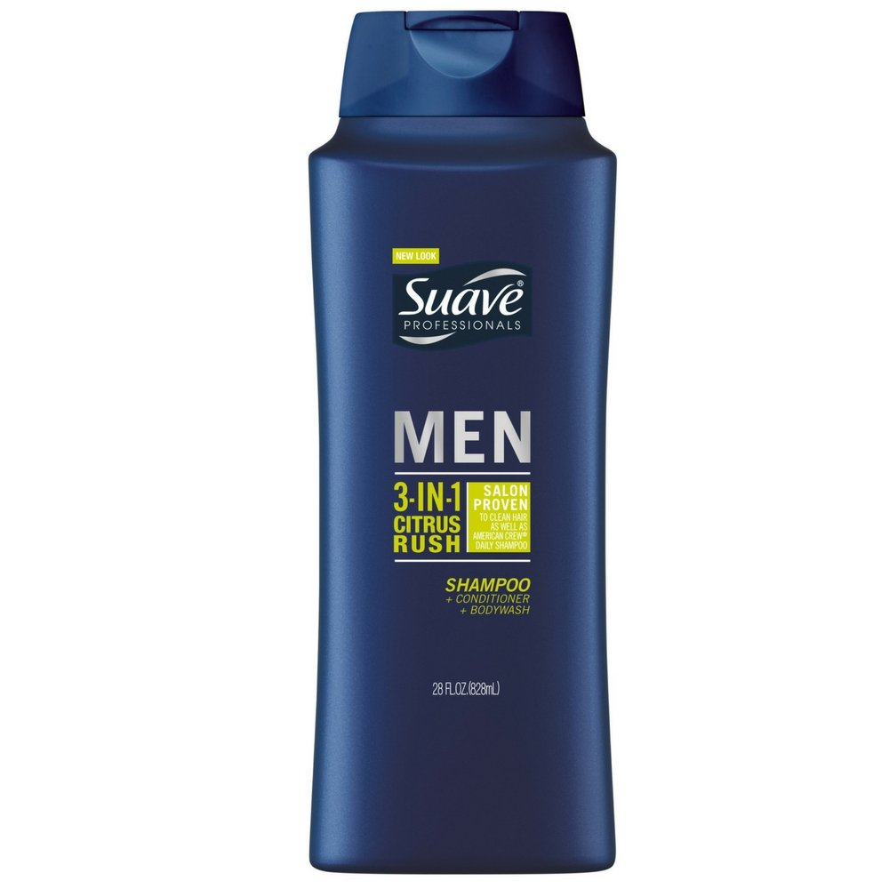 Suave Men 3 in 1 Shampoo Conditioner and Body Wash Citrus Rush 28 oz (Pack of 5)