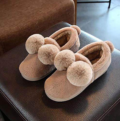 avec des Peluche 36 Chaussons Chaussons Chaude Brown 37 d'hiver Pantoufles Chaussures Coton Intérieur Fourrure Femmes SHANGXIAN Plat Red qtx7Pn