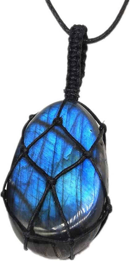 AITELEI Collar de Cristal de labradorita Natural Colgante de Chakra curativo con Cuerda Tejida a Mano Labradorita Piedra de Piedra Piedra de Luna Colgante de Piedra curativa