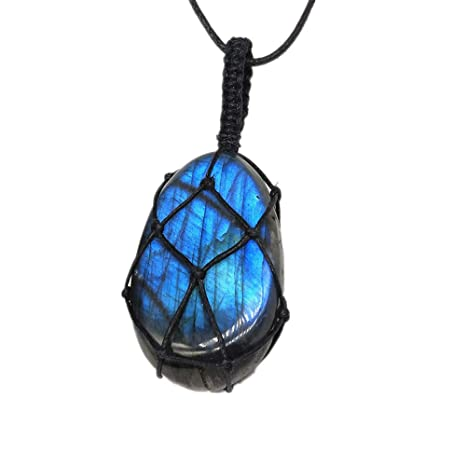 Natural Crystal Pendant Moonstone Labradorite Polished Stone Necklace Jewellery