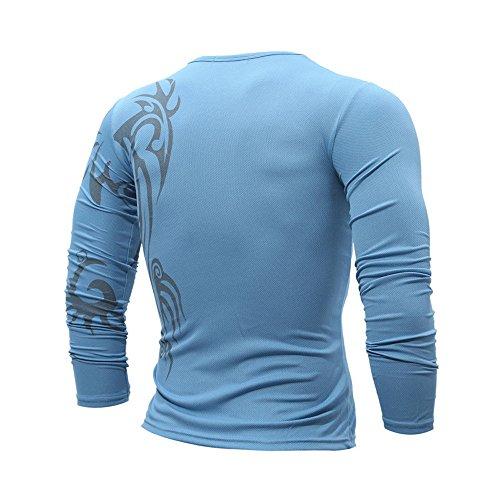 Longues À shirt De Motif Remise Pour Jerfer Hommes Mode T Tops Manches Blouse Bleu wvTB6H