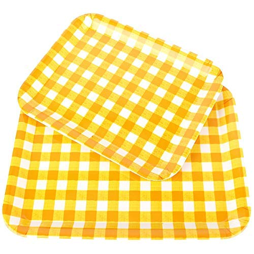 Fecihor Lightweight Rectangular Plastic Serving Tray, Yellow Lattice Food Platter,Large and Small Set of 2 Pieces, Size 15