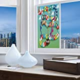 YOLIYANA Frosted Window Film Stained Glass Window Film,Board Game,Work Well in The Bathroom,Swirled Snakes and Ladders Start and Finishing Line,24''x48''