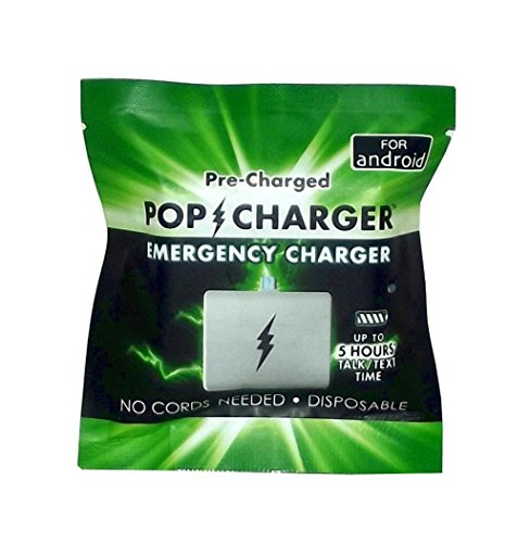 Pop Charger Pre-Charged Disposable Emergency Charger,Compatible with Android,Pack of 4