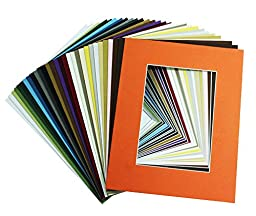 Golden State Art, Pack of 50 8x10 Mix Color Picture Mats Mattes with White Core Bevel Cut for 5x7 Photo + Backing + Bags