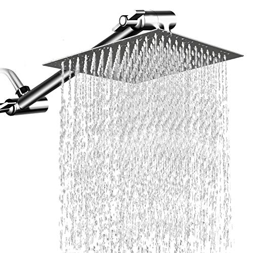 Waterfall Head - 12'' Square Rain Showerhead with 11'' Adjustable Extension Arm, Large Stainless Steel High Pressure Shower Head,Ultra Thin Rainfall Bath Shower with Silicone Nozzle Easy to Clean and Install