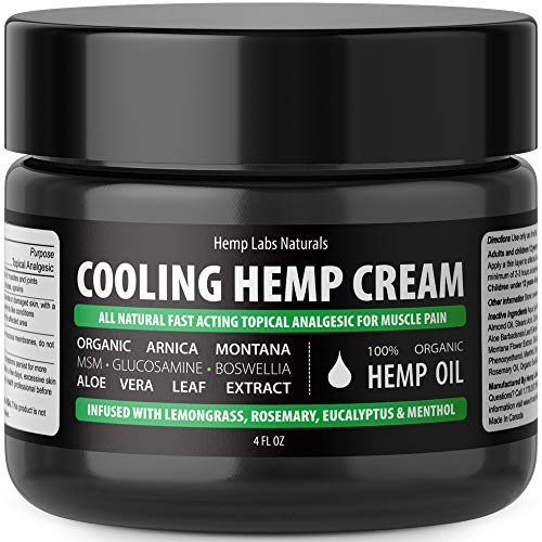 (Hemp Labs Naturals Instant Pain Relief Cream for Arthritis, Joint Pain, Muscle Aches - 1000mg High Potency Hemp Extract - Anti-Inflammatories, Arnica, MSM, Glucosamine, Boswellia, Rosemary, Menthol)