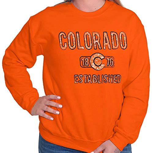 - Colorado State Flag Vintage Workout CO Gift Crewneck Sweatshirt Orange