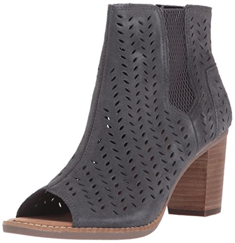TOMS Women's Majorca Peep Toe Mid Calf Boot, Forged Iron Grey Suede Perforated Leaf, 8.5 Medium US