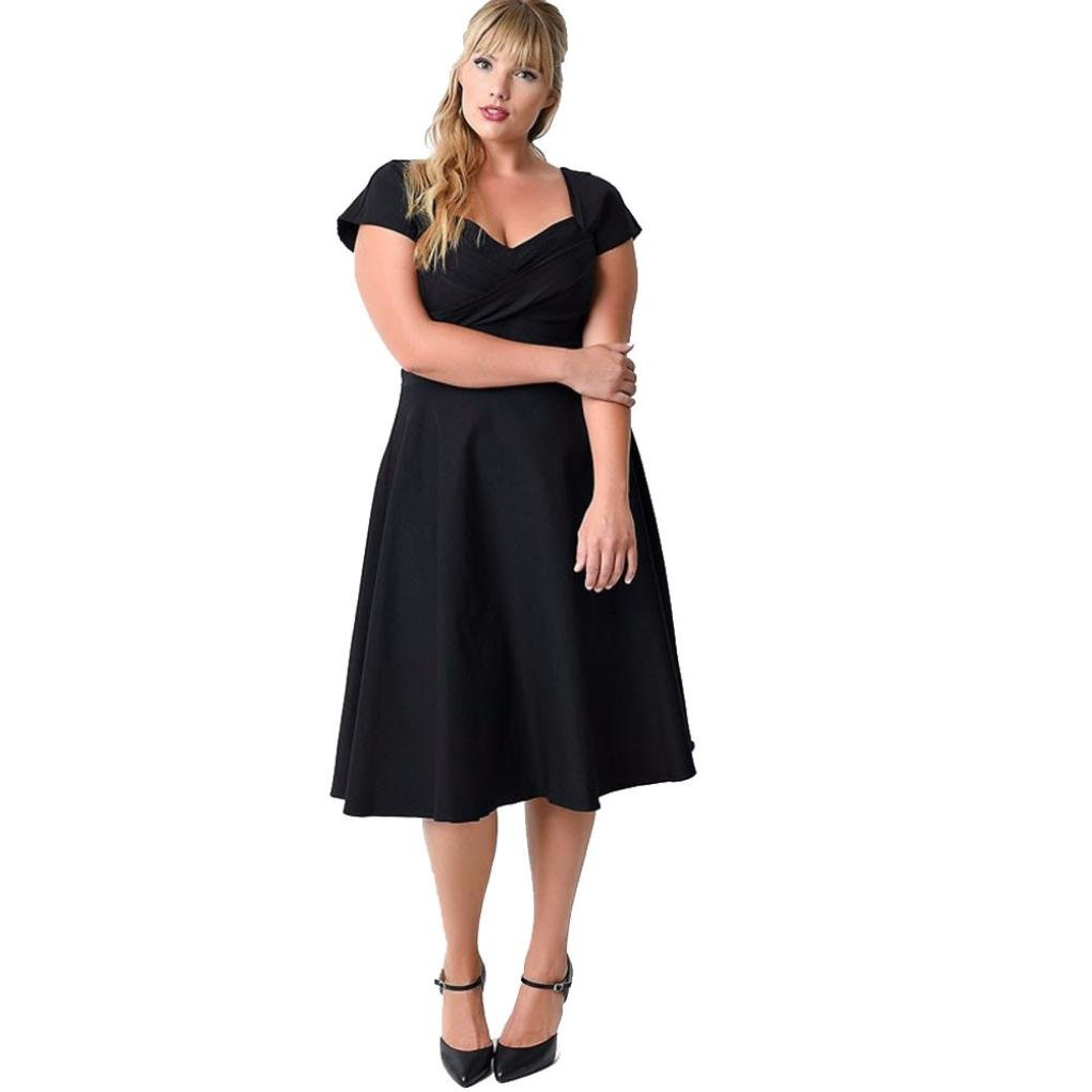 Women Dress Daoroka Ladies Sexy V-Neck Plus Size Casual Loose Floral Boho Maxi Evening Party Prom Gown Skater Skirt (2XL, Black)