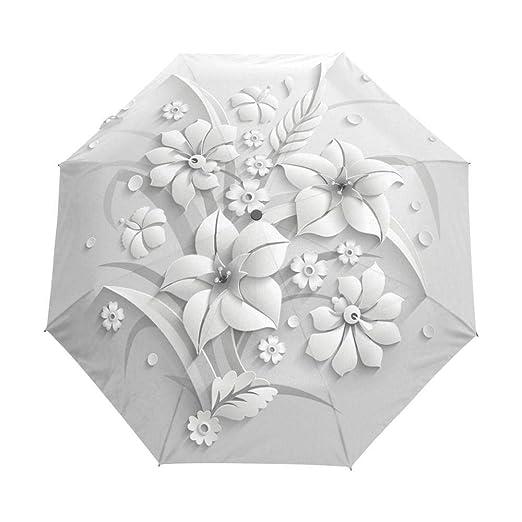 Full Automatic 3D Floral White Chinese Sun Umbrella Paraguas ...