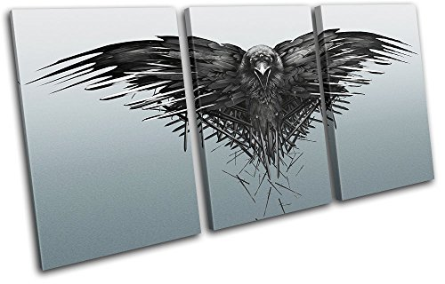 Bold Bloc Design - Game of Thrones Raven Movie Greats 120x60cm TREBLE Canvas Art Print Box Framed Picture Wall Hanging - Hand Made In The UK - Framed And Ready To Hang by Bold Bloc Design