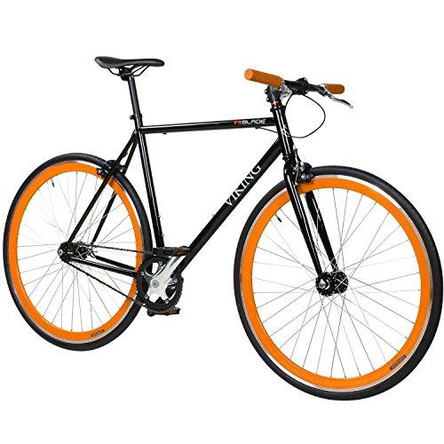 28' Fixie Singlespeed Bike Viking Blade 5 Farben zur Auswahl, Farbe: Schwarz / Orange; Rahmengrösse: 56 cm