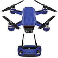 Skin for DJI Spark Mini Drone Combo - Blue Carbon Fiber| MightySkins Protective, Durable, and Unique Vinyl Decal wrap cover | Easy To Apply, Remove, and Change Styles | Made in the USA