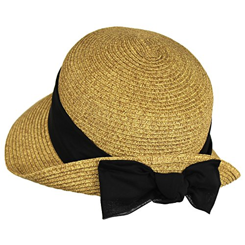 Black Sash Straw Cloche Bucket Sun Hat w/ Linen Sash & Bow – Turned Up (Brim Cloche)