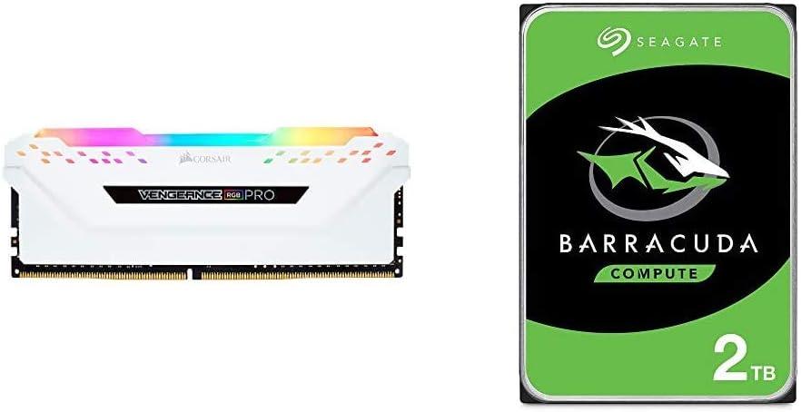 CORSAIR Vengeance RGB PRO 16GB (2x8GB) DDR4 3200MHz C16 LED Desktop Memory - White & Seagate Barracuda 2TB Internal Hard Drive HDD – 3.5 Inch SATA 6Gb/s 7200 RPM 256MB Cache 3.5-Inch