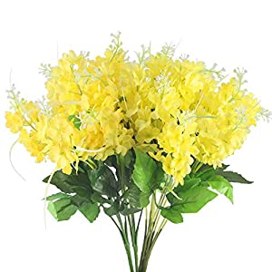 GTIDEA 4pcs Artificial Wisteria Bundle Fake Flowers Silk Floral Bouquet Arrangements Home Garden Fences Restrant Hotel Parties Wedding Simulation Decor (Yellow) 42