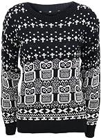 PaperMoon - Pull tricotéà manches longues avec les images des hiboux - Hauts - Femmes - Noir - 36-38