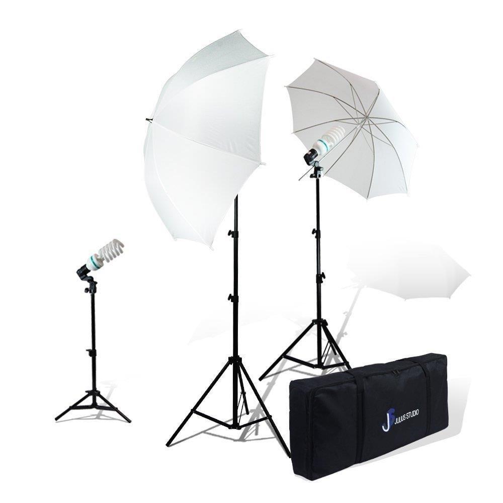 Julius Studio Photography Photo Studio Video Portrait Lighting Kit, White Umbrella Reflector, Continuous Bulb & Socket with Umbrella Insert, Light Stand Tripod, Carry Bag, JSAG1 by Julius Studio