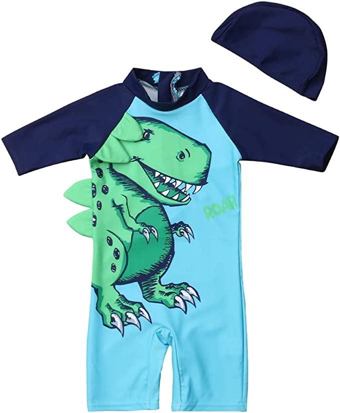 Toddler Baby Girls Two Piece Short Sleeve Sunsuits Dinosaur Rash Guard Sun Protection with Swimming Hat