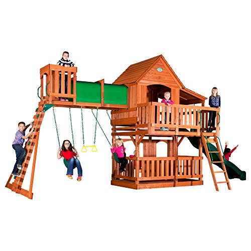 (Backyard Discovery Woodridge II All Cedar Wood Playset Swing Set)