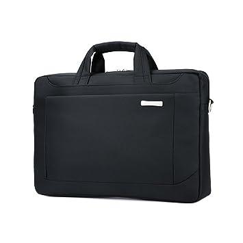 Jia Hu - Maletín de gran capacidad para ordenador portátil, bolso de mensajero, organizador de archivos para universidad, negocios, color negro: Amazon.es: ...