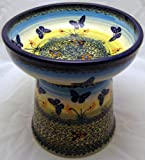 Polish Pottery Raised Cat Small Dog Dry Food Dish or Water Bowl – Signature WKM Flutterby Butterflies – Yellow, My Pet Supplies
