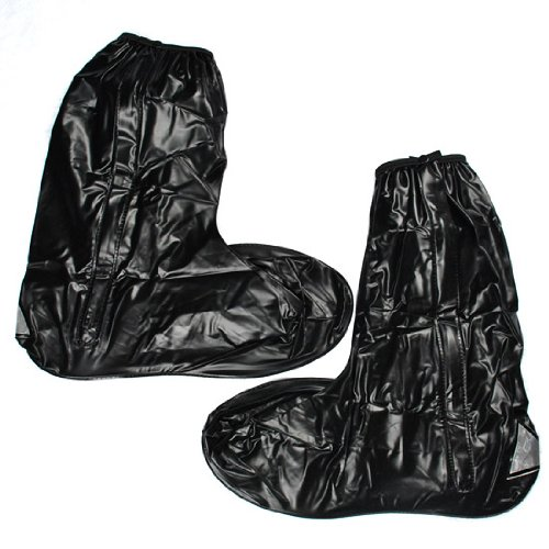 Outdoor Partner Spring Summer Rainstorm Rainy Day Rain Suit Gear Cruiser Chopper Driving Biker Waterproof Boot Shoe Cover Side Zipper Black Adult Men US 12-13 (Euro 46-47)