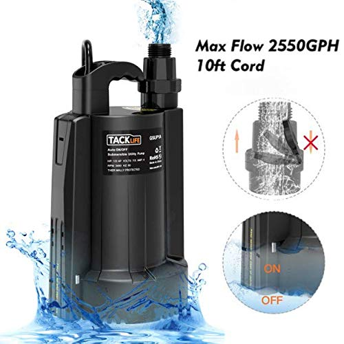 """TACKLIFE Submersible Water Pump, Automatic ON/OFF, 1/3 HP 30 dB 3/4"""" Adapter 2550 GPH Maximum Flow, Suitable for Use in Farms/Swimming Pools/Flooded Basements/Drainage in Water Transfer Applications"""