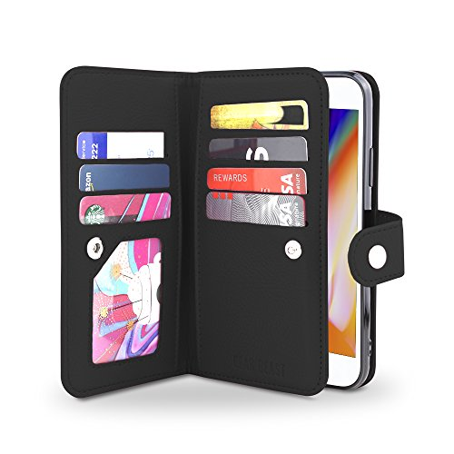 Gear Beast iPhone 8 / 7 Wallet Case, Flip Cover Dual Folio Slim Protective PU Leather Case 7 Slot Card Holder Including ID Holder Plus Cash/Receipt Pockets For Men Women - Michael Tory Burch Kors Or