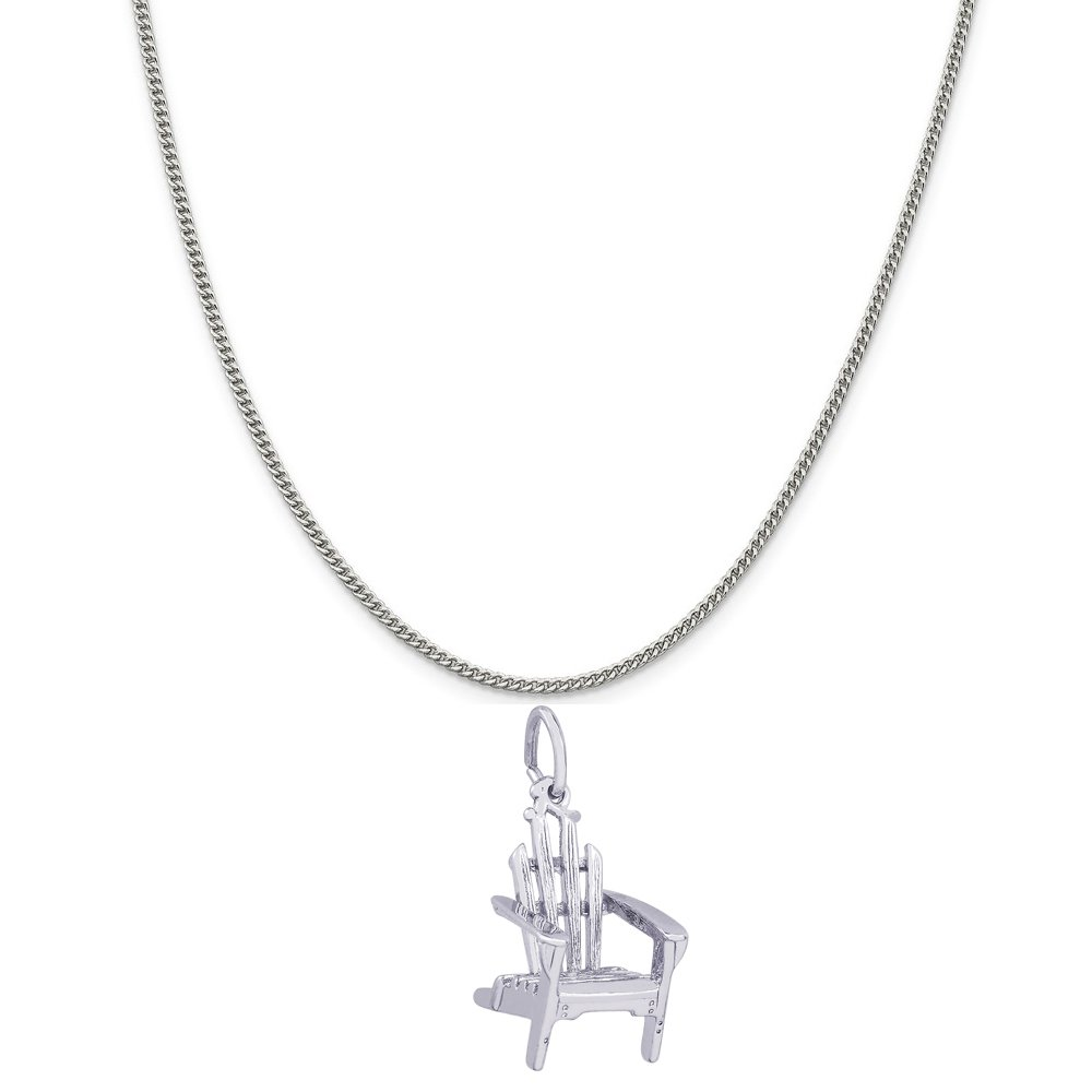 Rembrandt Charms Sterling Silver Adirondack Chair Charm on a 16 18 or 20 inch Rope Box or Curb Chain Necklace
