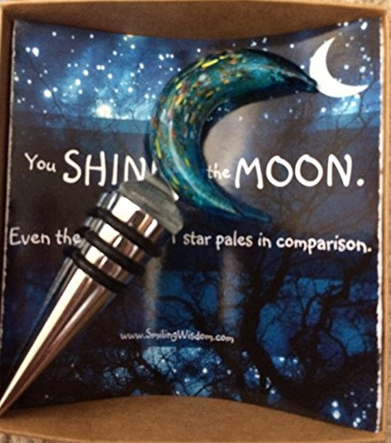 Shine Gift (Smiling Wisdom - You Shine Like the Moon Gift Set - Inspirational Rockstar Message Card - Handmade Glass Blue Moon Wine Bottle Stopper - Beverage Liqueur Liquer Champagne Cork Plug)