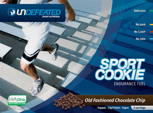 Undefeated Sport Cookie – Chocolate Chip – Endurtance Fuel, Meal Replacement – Organic, Vegan (12 Pack) For Sale