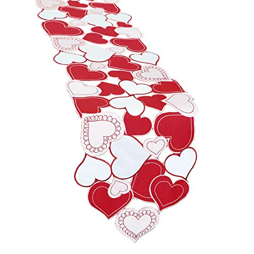 - Simhomsen Embroidered Love Heart Table Runner for Valentine's Day, Mother's Day, Wedding Anniversary, Marriage Proposals, Engagements, Romantic Events or Parties (13.5 × 69 inch)