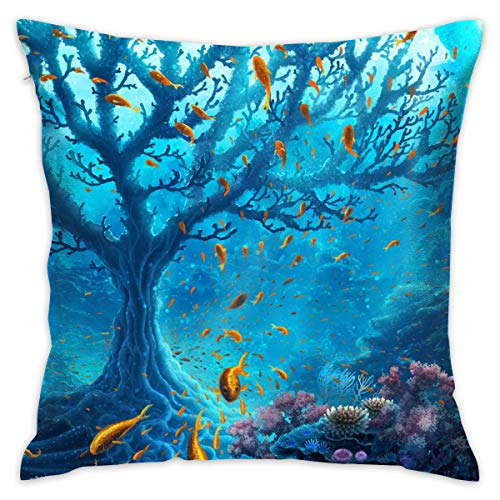 TRK-KWQDF Artistic Fantasy Ocean Reef Throw Pillows Covers for Couch/Bed 18 X 18 Inch, Print for Textile Wallpaper Pattern Home Sofa Cushion Cover Pillowcase Gift Bed Car Living - Pillow Reef Throw