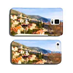 Glass of red wine with city view of Dubrovnik. Croatia. cell phone cover case Samsung S6