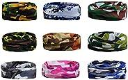 9PCS Packed Multifunctional Headband Bandana- Seamless Elastic Breathable Headwear Magic Scarf for Running,Hik
