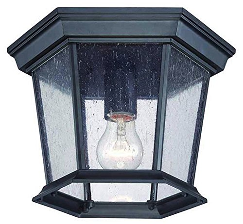 Flush Mount Outdoor Lantern Black (Acclaim 5275BK/SD Dover Collection 1-Light Ceiling Mount Outdoor Light Fixture, Matte Black)