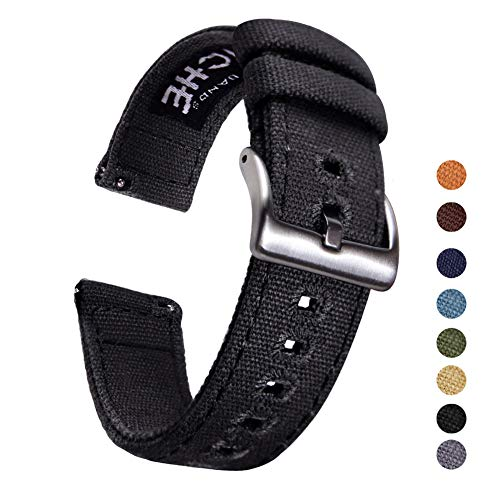Mens Watch Black Band - 20mm Canvas Quick Release Watch Band Black Replacement Watch Straps for Men Women