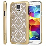 Galaxy S5 Case - GreatShield [TACT Damask Design] Embossed Pattern Slim Fit Hard Snap On Case Back Cover for Samsung Galaxy S5 SV (Gold)