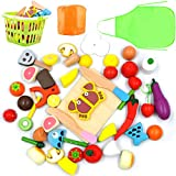 GYBBER&MUMU Play Food Cutting Fruits Vegetables Pretend Food Playset Kitchen Toys Fun [Solid Wood] Educational Early Age Basic Skills Development 30pcs Set