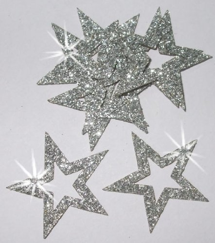 (CrystalsRus 36 Silver Fabric Glitter 35mm Star Outline Iron-On Fabric Transfer)
