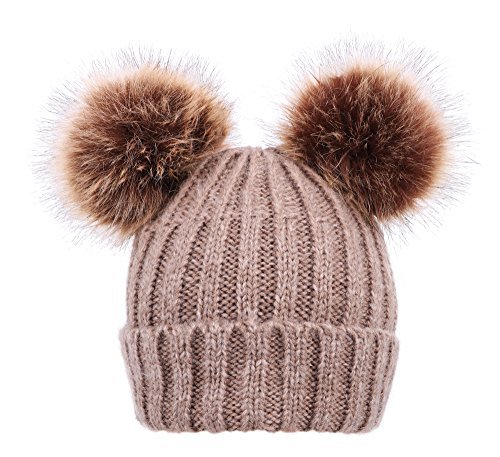 t Beanie with Faux Fur Pompom Ears Khaki (Arctic Hat)