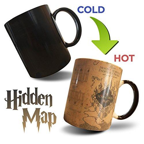Marauders Map Mug Harry Potter Mug Morphing Mug Heat Sensitive Colour Changing magic Ceramic Coffee Mug by FoX Mugs (Marauders Map Mug)