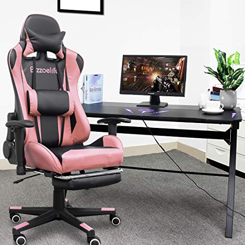 Gaming Chair Ergonomic Racing - Bizzoelife High Back PU Leather Adjustable Swivel Office Executive Task Chair with Footrest Backrest Headrest (Pink)
