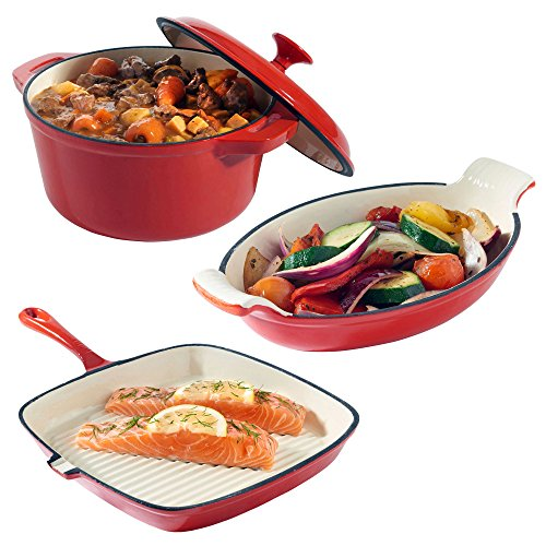 VonShef Cast Iron Casserole, Gratin and Griddle Dishes