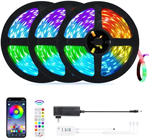 50ft LED Strip Lights, OxyLED Music Sync Color Changing RGB LED Christmas Strip Bluetooth, App Control, Remote, Control Box LED Music Lights, 5050 SMD LED Lights for Bedroom, Party and Home Decor