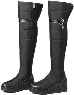 BNXXINGMU Nuove Donne Snow Boots di Spessore in Vera Pelle Giù Caldo Inverno Piattaforma Stivali sopra Il Ginocchio Stivali Dimensione Plus Black 9