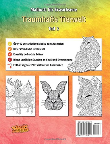 Traumhafte Tierwelt: Malbuch für Erwachsene Bilder von Tieren zum ...